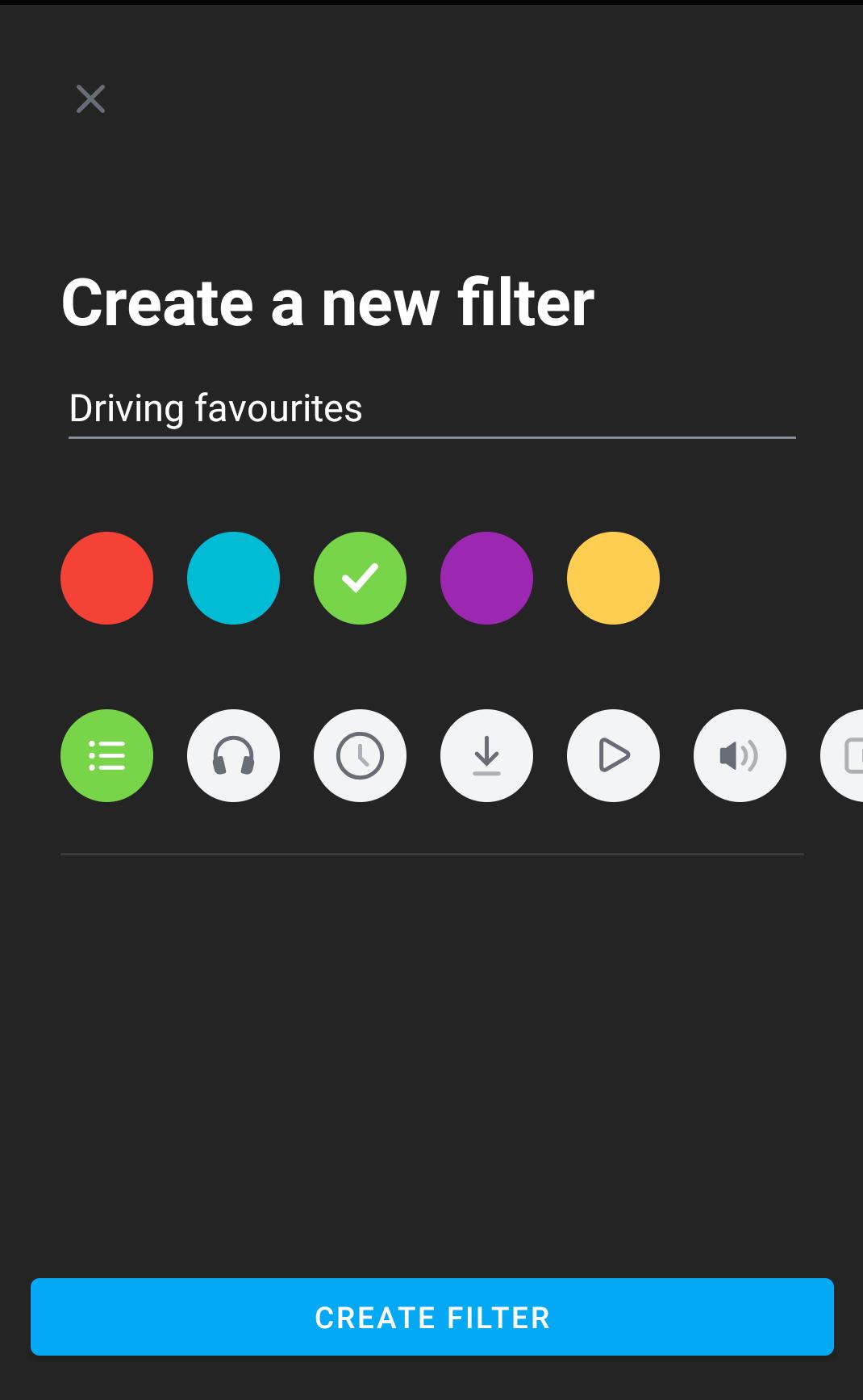 Create filter Step 1 screen