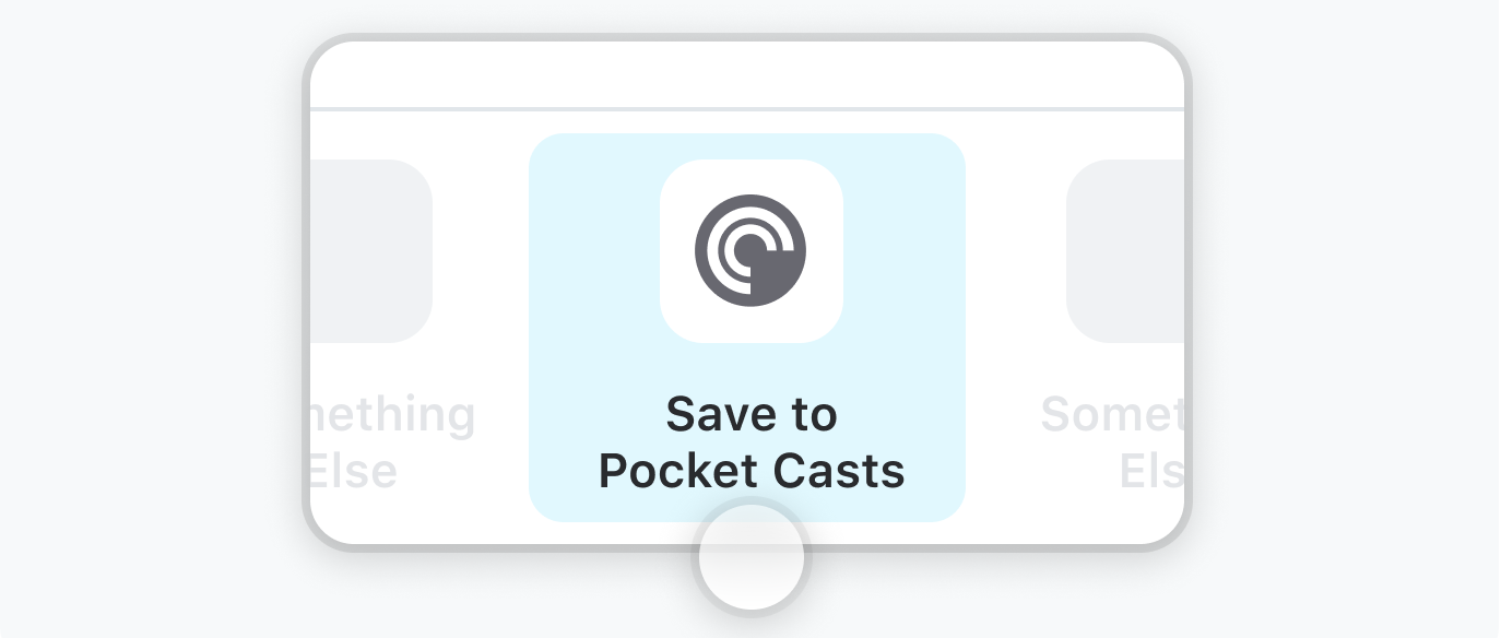 Visual guide showing how to save to Pocket Casts